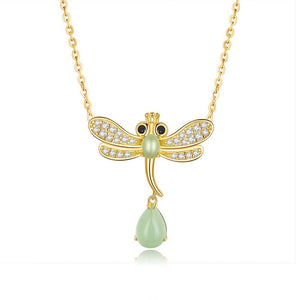 Dragonfly with Peridot Gem Necklace (SBSN061)