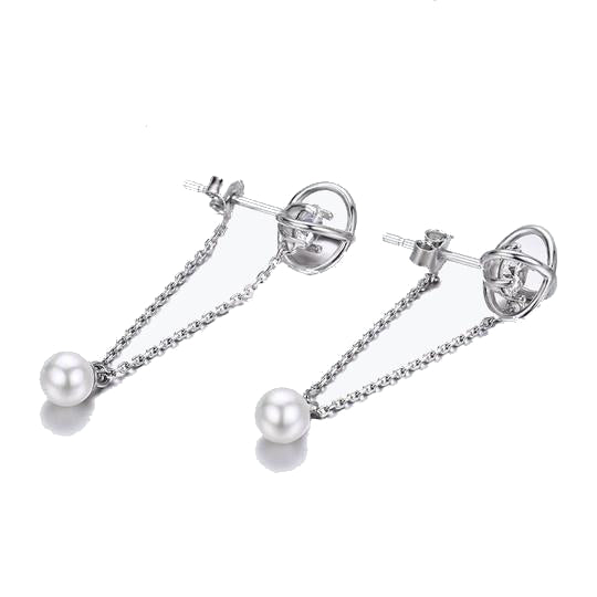 Electroned Diamonds Lacing Pearl Earrings(sbE288)