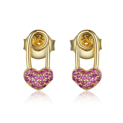 Heart Diamond Safety Pin Clip Earrings (SBSE043)