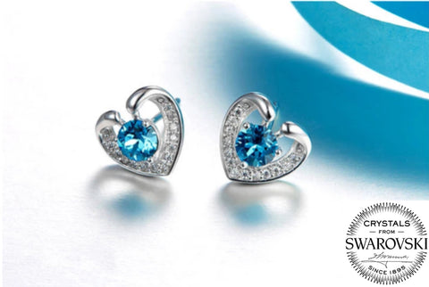 Swarovski Blue Diamond in my Heart Earring (T218-SS)