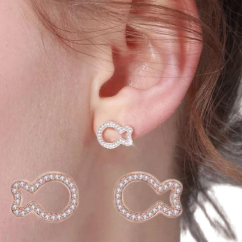 Rose Gold Fish Earrings (T265)