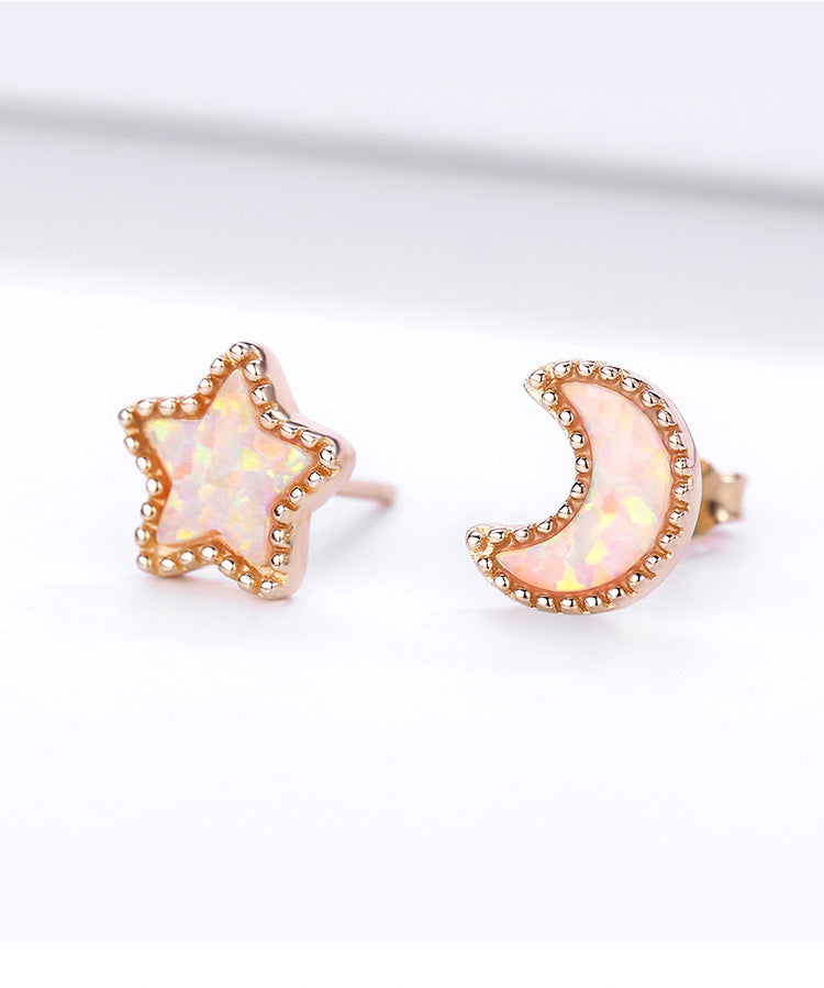Sparkling Moon and Star Earrings (SBE691)