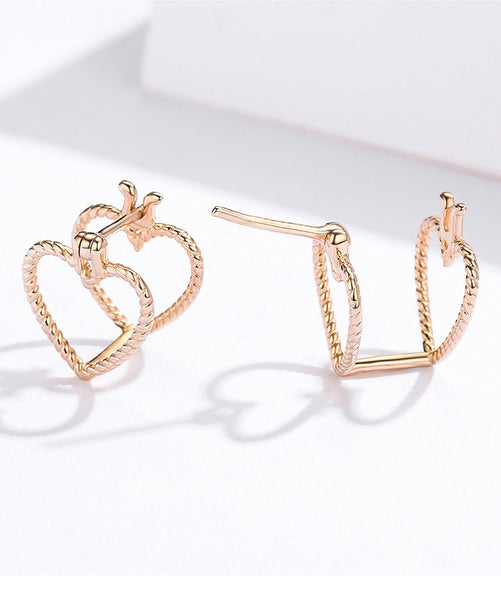 Three Dimensional Love Rose Gold Earrings (SBE696-SS)