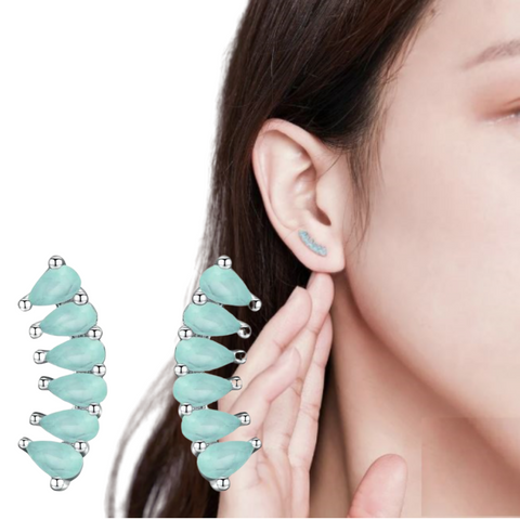 A blue Caterpillar Earrings (SBR539-6-SS)