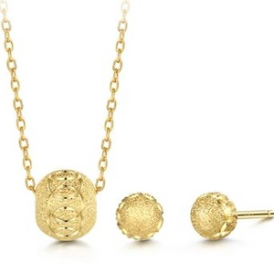 Sphere Gold Necklace and Earrings (TUB2838J01)