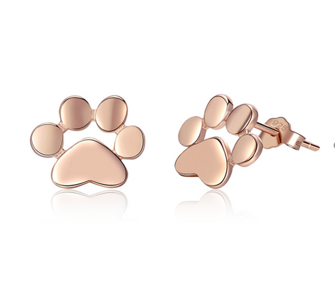 Paw rose gold earrings (SBE407-3)