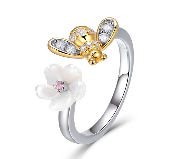 Bee and honey flower ring (SBSR013)