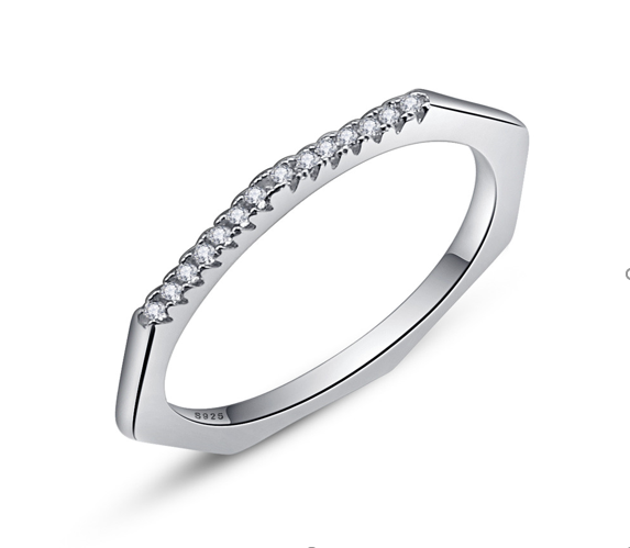 Sterling Silver Geometric Cubic Zircon Ring ( SBR045-6)