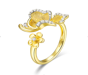 Yellow butterfly adjustable ring (SBSR066)