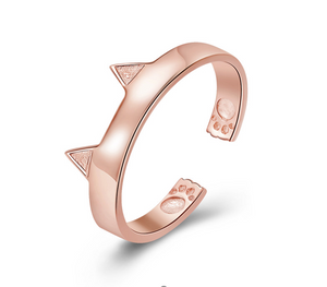 Rose Gold Cute Cat Paw Ring (SBR387-3-SS)