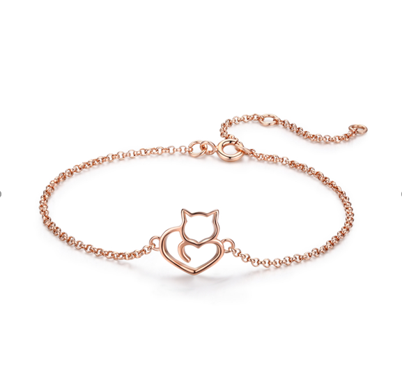 Rose Gold Cat heart bracelet (SBB102-C)