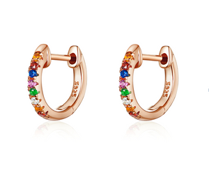 Colorful RoseGold Huggie Earrings  (SBE721-C)