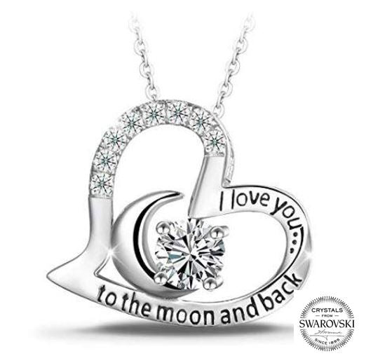 Swarovski Moon inside my heart necklace (T421-SS)