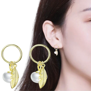 Pearl Leaf Earrings (SBE671-SS)