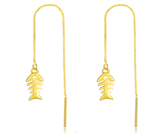 Golden Fishbone Long Earrings (SBE748-SS)