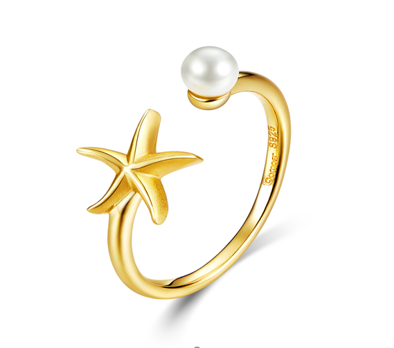 Starfish gold adjustable ring (SBSR064-SS)