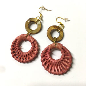 Shell Mother of Pearl Rattan Pink Earrings