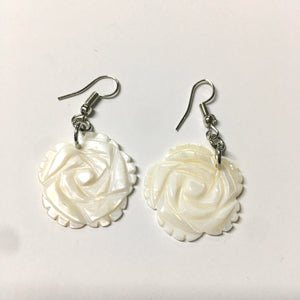 White Flower Shell Earrings