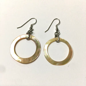 Open Circle Shell Mother of Pearl Earrings