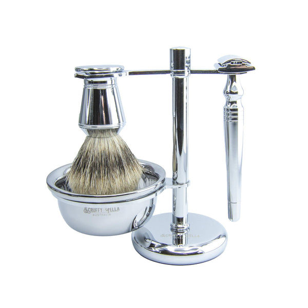 Chrome 4 piece Safety Razor Set
