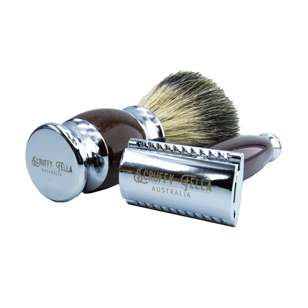 Wood Style Resin 3 piece Safety Razor Set