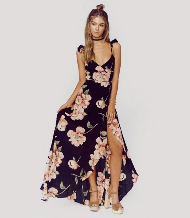 Mikayla Spaghetti Strap Split Hem Maxi Dress