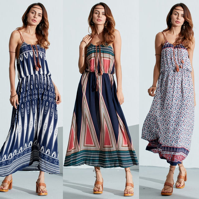 Boho Multi-Color Summer Casual Maxi Strap Dress