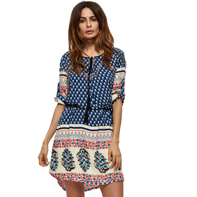 Camille Boho Multi-Color Print Mini Dress