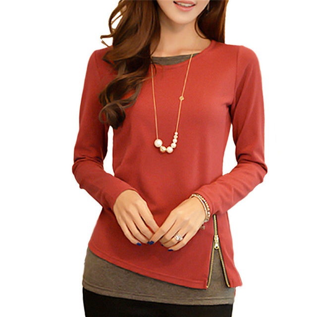 Casual Long Sleeve Zipper Blouse
