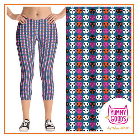 ANYTIME SKULLS Capri Leggings - Melissa Averinos