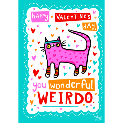'WONDERFUL WEIRDO' Valentine card bundle of 6