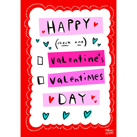 'VALENTIMES' Valentine card bundle of 6