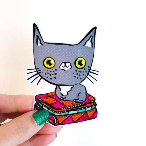 CAT ON A QUILT sticker