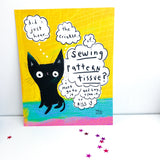 "BLACK CAT SEWING HELPER 8""x10"" print"