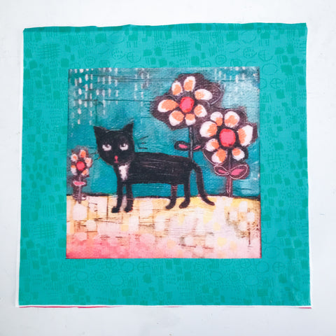 "TUXEDO CAT WITH DAISIES 10""x10"" fabric panel"