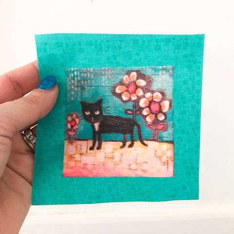 "small TUXEDO CAT WITH DAISIES 4""x4"" fabric panel"