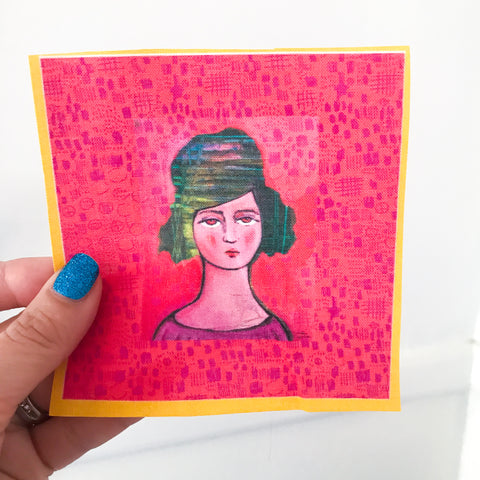 "small  LADY WITH COOL HAIR 4""x4"" fabric panel"
