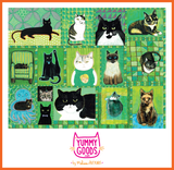 CATS ON QUILTS (GREEN) Mid-Rise Leggings - Melissa Averinos