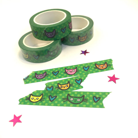 GREEN KITTY FACES washi tape (15mm)