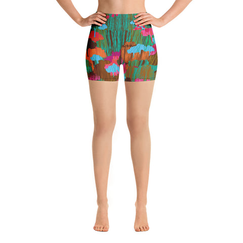 DREAM FOREST High-Waisted Yoga Shorts - Melissa Averinos