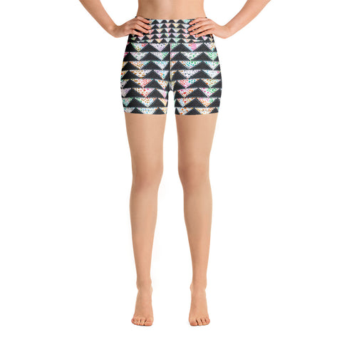 PATCHWORK TRIANGLES High-Waisted Yoga Shorts - Melissa Averinos