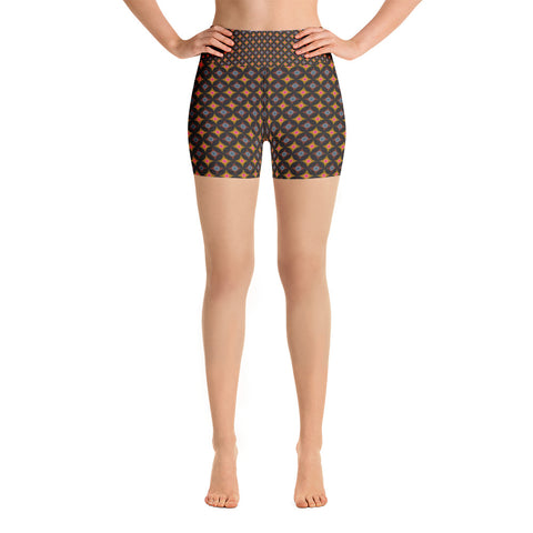 CATHEDRAL WINDOWS High-Waisted Yoga Shorts - Melissa Averinos