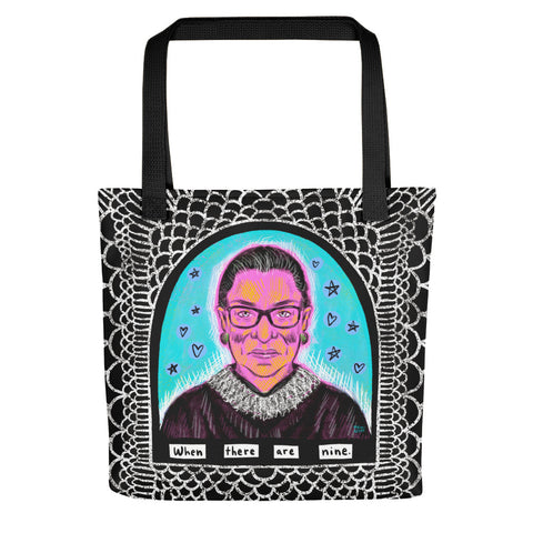 RBG WHEN THERE ARE NINE tote bag
