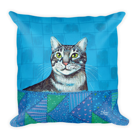 CHESTER Gray Tiger Cat 18x18 Pillow - Melissa Averinos