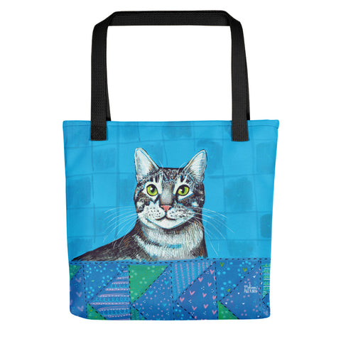 "CHESTER Gray Tiger Cat 15x15"" Tote - Melissa Averinos"