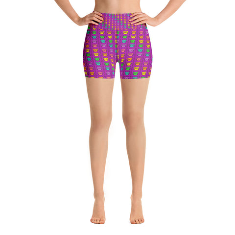 RAINBOW KITTIES High-Waisted Yoga Shorts - Melissa Averinos