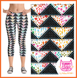 PATCHWORK TRIANGLES Mid-Rise Capri Leggings - Melissa Averinos