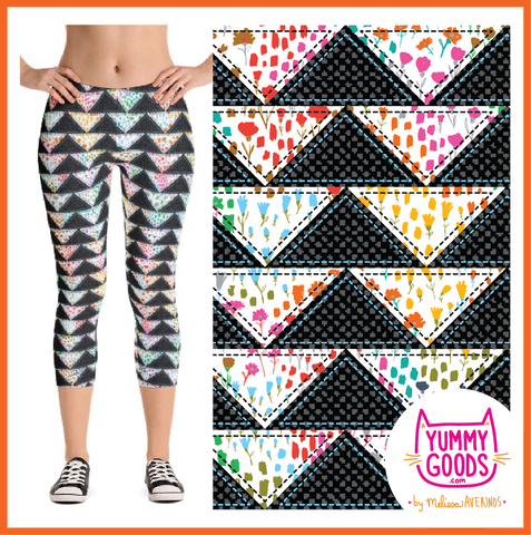 PATCHWORK TRIANGLES capri leggings - Melissa Averinos