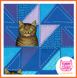 TIGER CAT ON BLUE QUILT leggings - Melissa Averinos