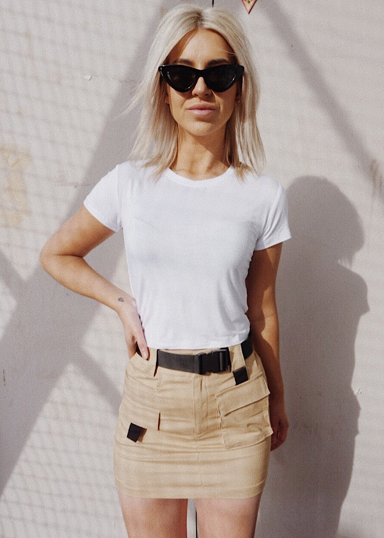 ON SAFARI MINI SKIRT - CAMEL - Sista Somewhere